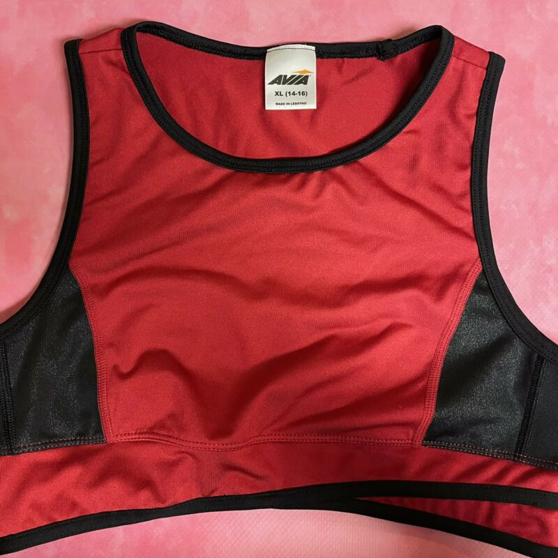 AVIA Sports Bra Wireless Red Black Colorblock Athletic Gym Youth Girl