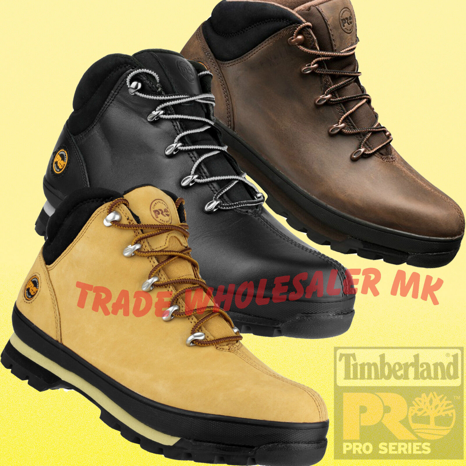 90f348e4703 Details about Timberland Pro Splitrock Work Safety Boots Hiker, Honey  (Wheat), Black, Gaucho