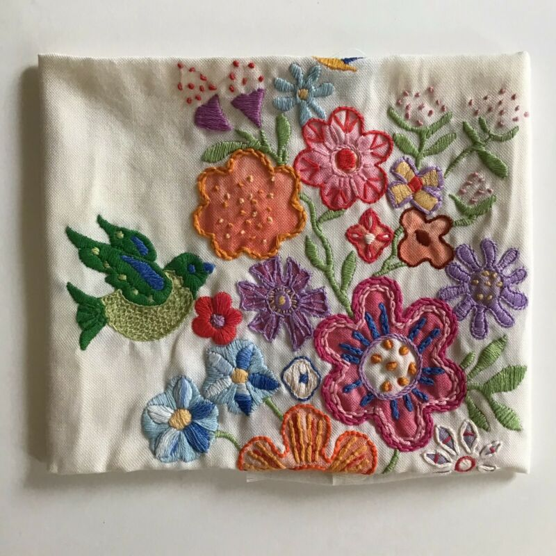 Vintage Completed Embroidery Crewelwork Picture Pillow Bird Flowers Frame