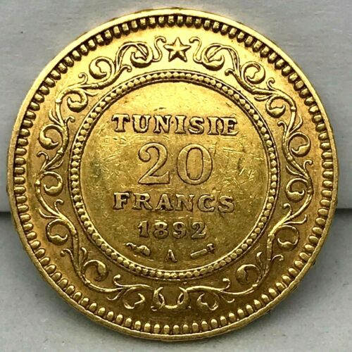 French Colonial - Tunisia AH 1310 / 1892-A Gold 20 Francs Paris Mint Coin KM#227
