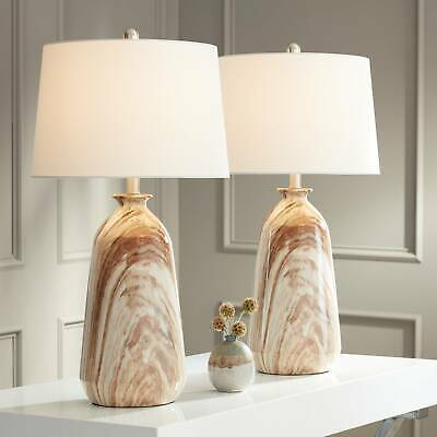 Modern Rustic Table Lamps Set of 2 Swirling Brown for Living Room Bedroom House