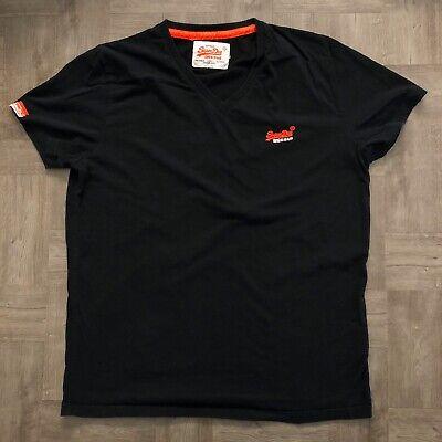 Superdry Mens T Shirt Vintage Orange Label V Neck Size Xl