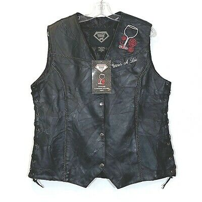 Diamond Plate Ladies 2X Motorcycle Vest Leather Black Wine Rose Collection NWT