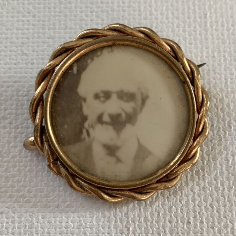 Antique Victorian Photograph Mourning Jewelry Brooch Pin Handsome Mature Man