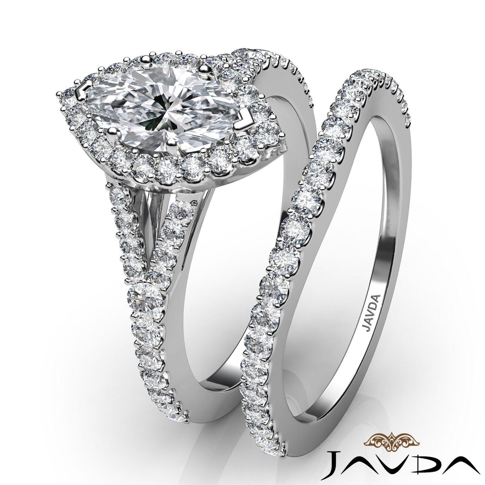 2.02ctw Halo Bridal Set Split Shank Marquise Diamond Engagement Ring GIA F-SI1 3