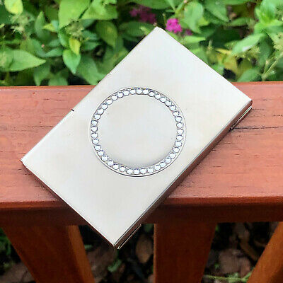 Rhinestone Pocket Stainless Steel Metal Business Card Holder Case Id Credit