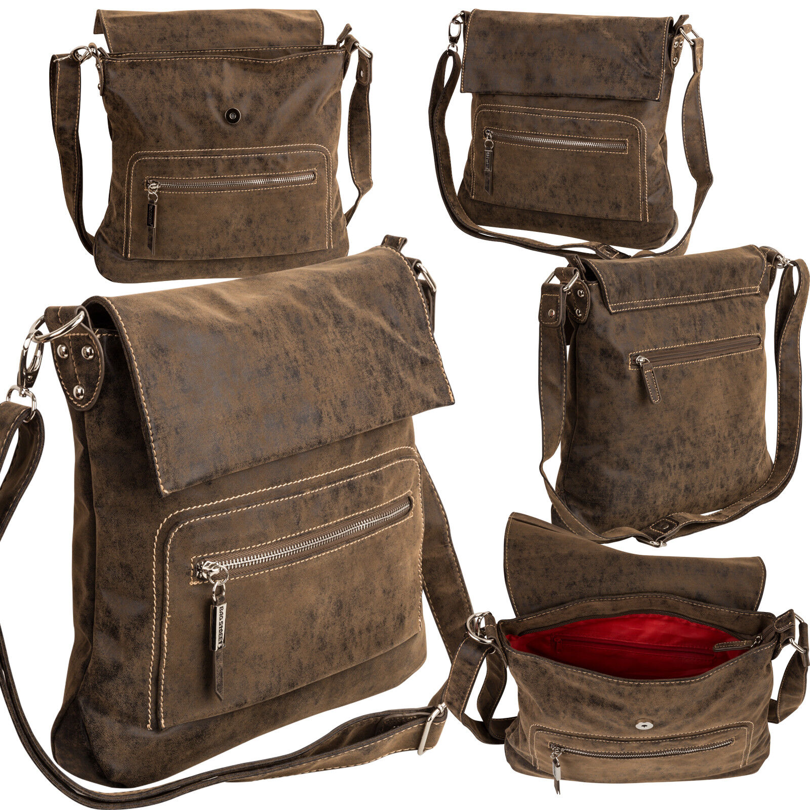 Bag Street Damentasche Umhängetasche Handtasche Schultertasche K2 T0107 Antikbraun