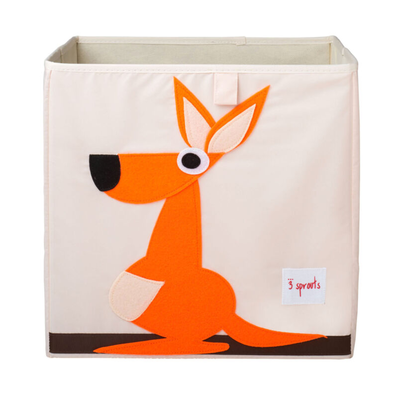 3 Sprouts Cube Storage Box - Organizer Container for Kids & Toddlers, Kangaroo