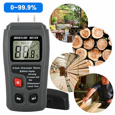Digital Lcd Wood Moisture Meter Detector Tester Humidity 0-99.9 Hygrometer Test