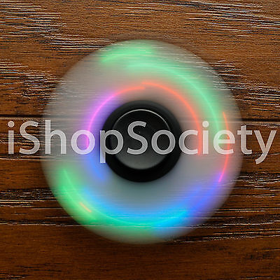 LED Tri Spinner Fidget Spinners EDC Figet Hand Desk Focus Toy ADHD -USA- BLACK