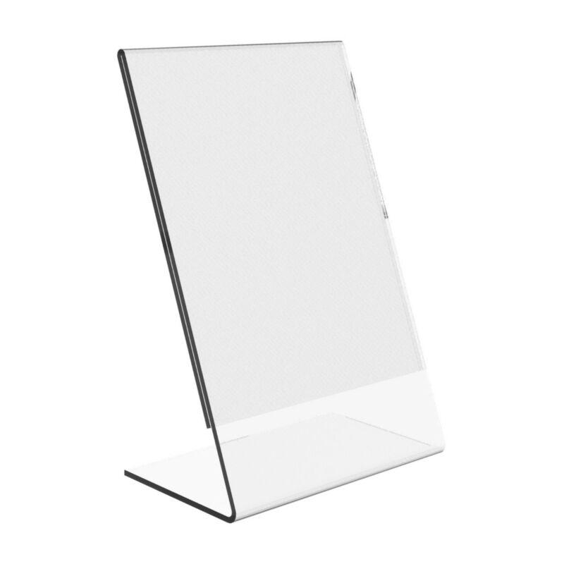 "Dazzling Displays 50 Acrylic 4"" x 6"" Slanted Sign Holders"