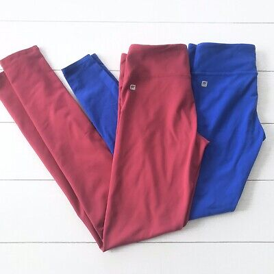 Fabletics Powerhold Leggings Bundle Lot of 2 Size XS Cranberry / Blue