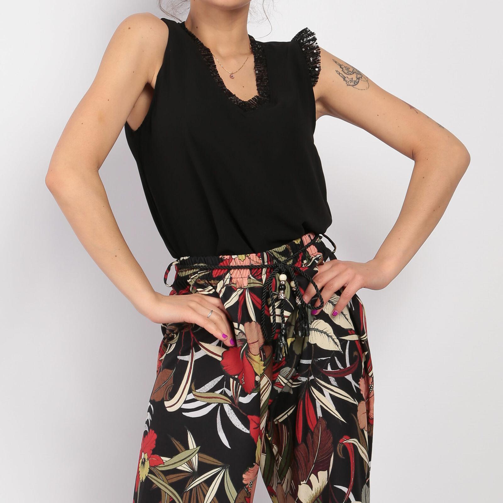 Camicia camicetta blusa donna maglia sottogiacca elegante pailettes scollata 671