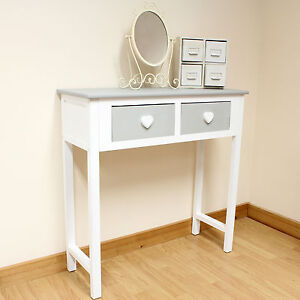 2 Drawer Dressing Table Grey & White/Heart Handles/Girls/Childrens Console Table