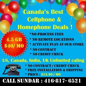 Cell $35 & Home phone $10  Deals/Offers, Call US/Canada/ India.