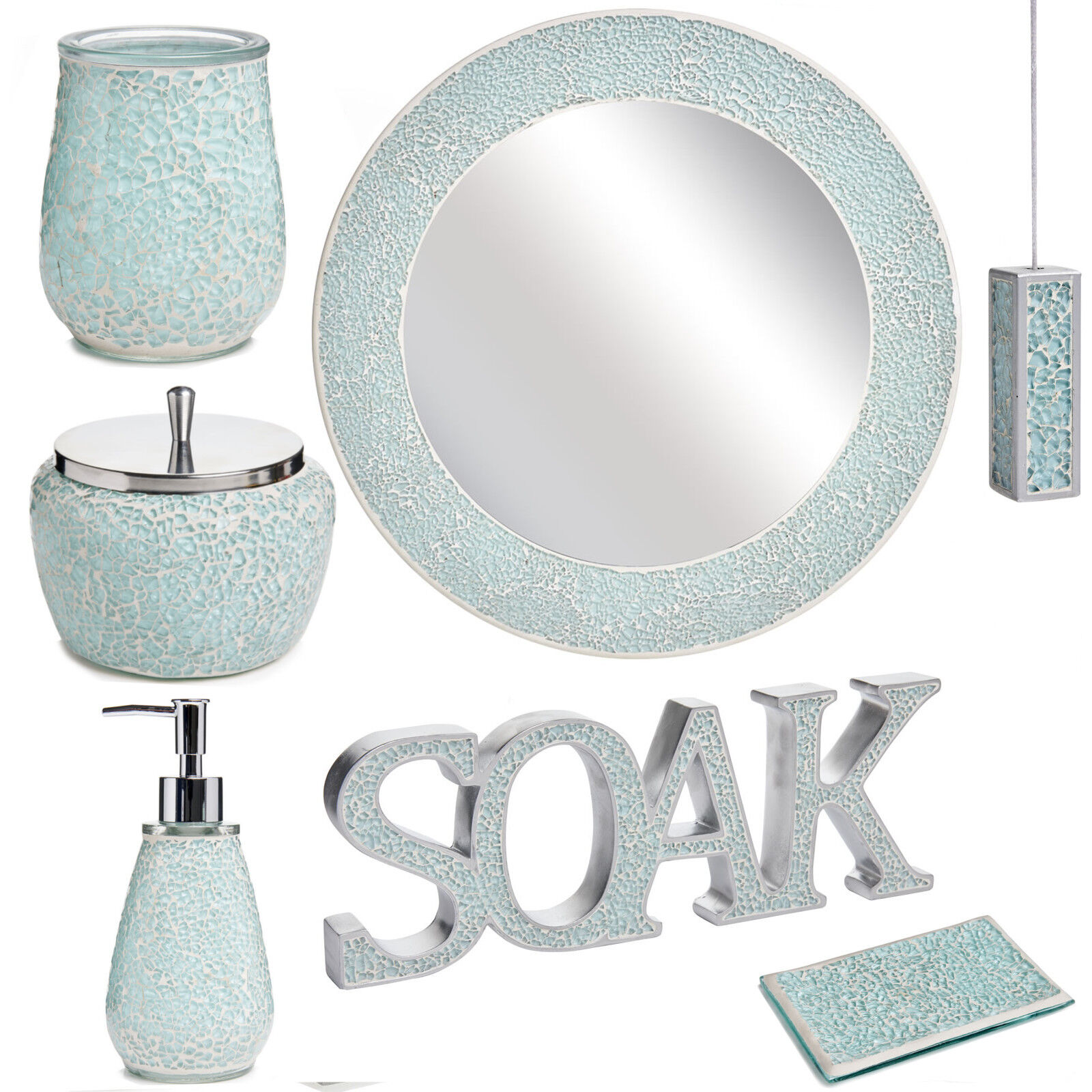 Aqua sparkle mosaic bathroom accessories set ebay for Silver crackle glass bathroom accessories