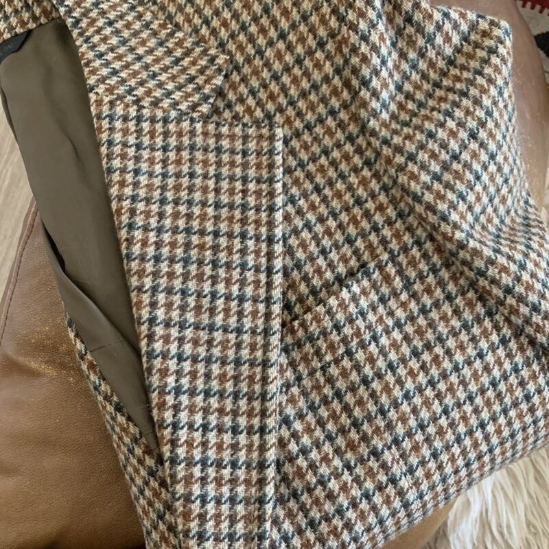 Vintage 50s 60s Wool Sports Coat Blazer Jacket M Plaid Hunting Woven Houndstooth