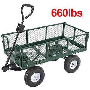 Heavy Duty Utility Wheelbarrow Lawn Wagon Cart Dump Trailer Yard Garden Steel