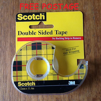 3m Double Sided Tape Dispenser (3M Scotch Double Sided Tape 12.7mm x 11.4m lg Roll with Dispenser x 1   FREE P&P )