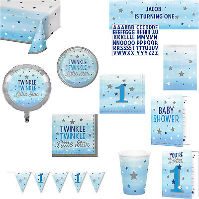 Blue Twinkle Star Party Boys 1st Birthday Baby Shower Tableware Decorations ()