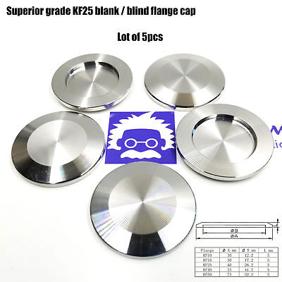 5 Pcs Superior Grade Kf-25 Nw-25 Flange Blank Blind Cap Stainless Steel Vacuum