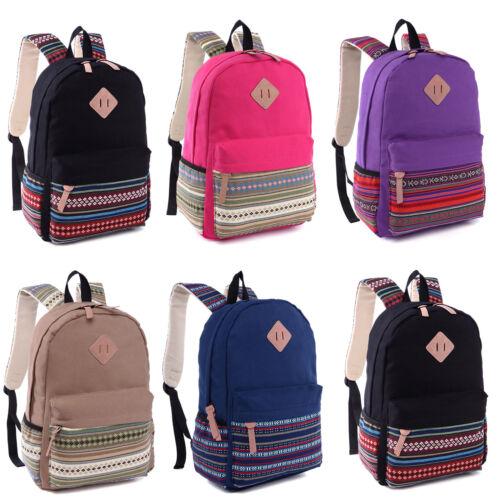 Women Canvas Backpack Shoulder Book School Bag Travel Rucksa