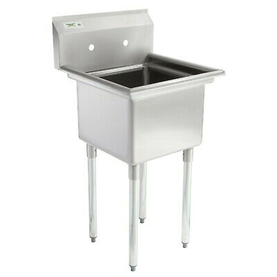 22 Stainless Steel 1 Compartment Commercial Sink Without Drainboard