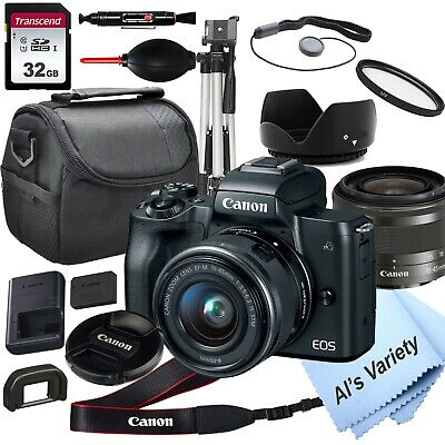 Canon EOS M50 Mirrorless Camera with 15-45mm STM Lens, + 32GB Card,(18PC Bundle)