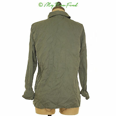 TOPSHOP MOTO TENCIL SHIRT BUTTON DOWN ARMY GREEN COLLAR TOP  4 S B21