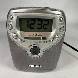 Philips Magnavox AJ3950/17 Dual Alarm Clock CD Player Radio Tested