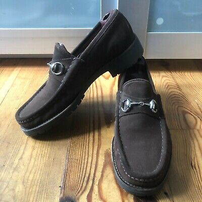 Very Cool Gucci Brown suede Silver Horsebit Loafers Lug Sole 6030 UK 8 E