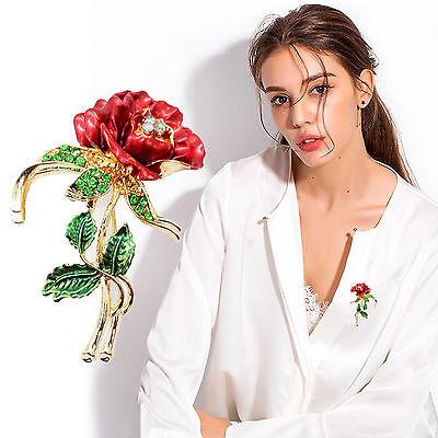 Charm Frauen Damen Kristall Rhinestone Rose Blume Brosche Pin Corsage Schmuck