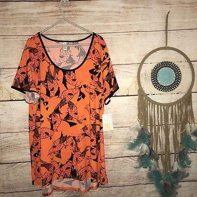 Lularoe Halloween Womens Plus Size 3XL Classic T Shirt Birds Orange Pretty