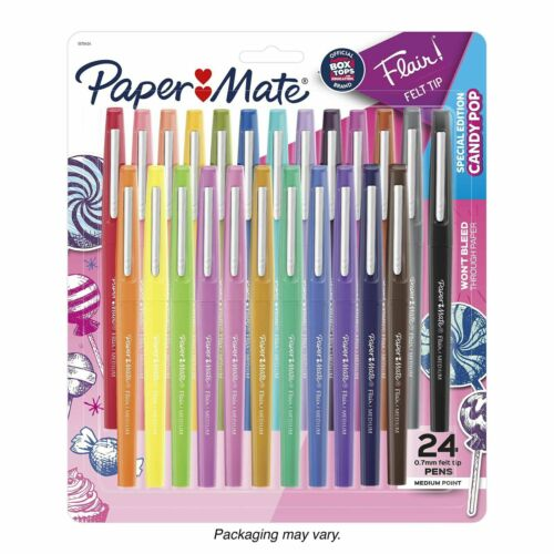 Candy Pop Paper Mate Flair Felt Tip Pens Medium Point 0.7mm  24 Count Special Ed