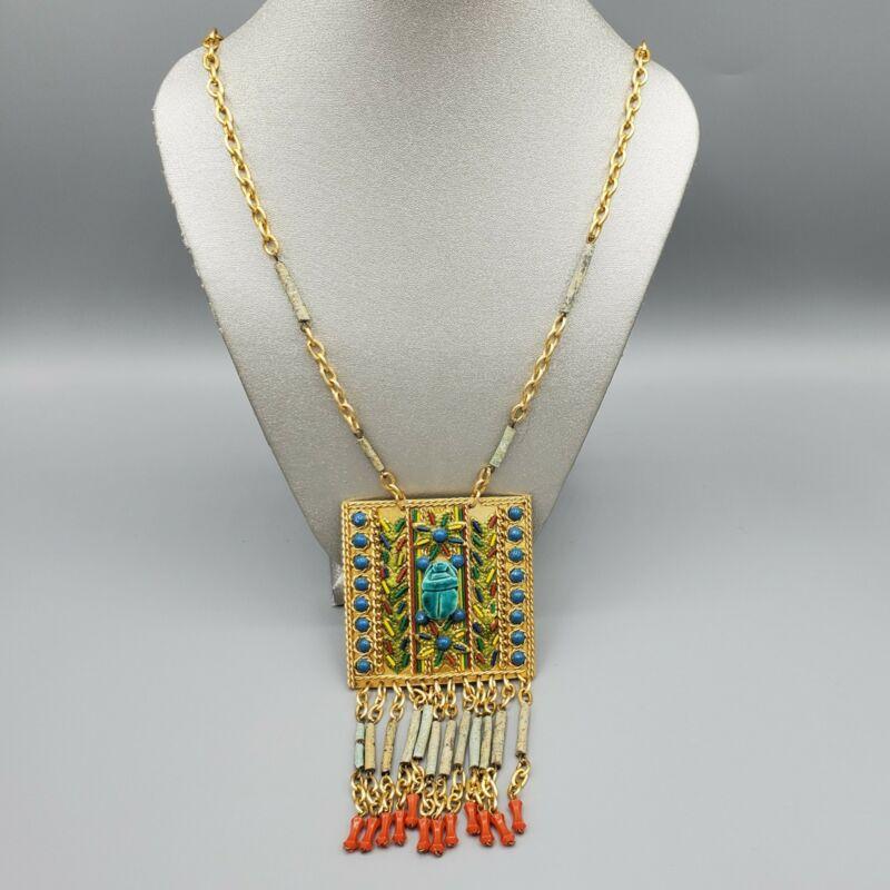 "Vintage Egyptian Revival Blue Faience Faux Coral Bead Gilt Sautoir Necklace 25"""