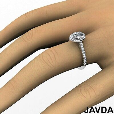 Halo U Cut Pave Pear Diamond Engagement Ring GIA Certified H VS2 Clarity 1.22 Ct 5