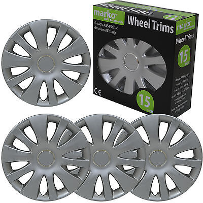 "15"" WHEEL TRIMS SET OF 4 UNIVERSAL FITTING ALLOY LOOK SILVER ABS PLASTIC COVERS"