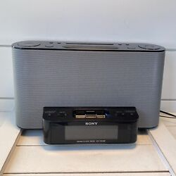 Sony FM/AM Alarm Clock Radio Speaker Dock For iPod/iPhone ICF-CS10iP Black/Gray
