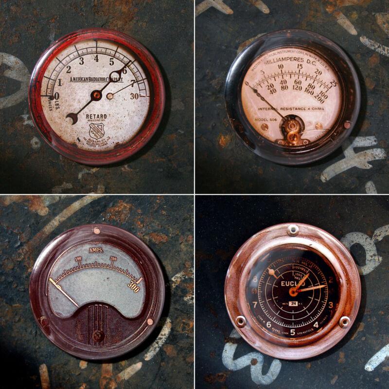 "Series C: SET OF 4 Printed Gauge Magnets Steampunk 2.25"" Amp Gauges Ohm Radiator"