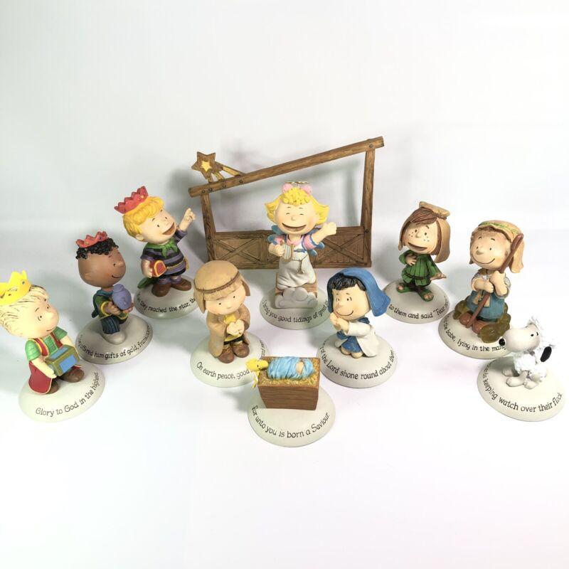 Hallmark 2014 Glad Tidings Nativity Peanuts Gallery Figurines - Set of 11 ~ READ