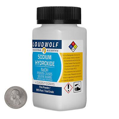 Sodium Hydroxide 4 Ounce Bottle 99 Pure Food Grade Fine Powder Usa