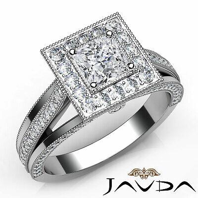 Halo Split Shank Milgran Princess Diamond Engagement Bezel Ring GIA D VS2 1.4Ct