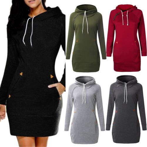 Damen Hoodie Langarm Lange Kapuzenpullover Sweatshirt Minikleid Freizeit Kleider