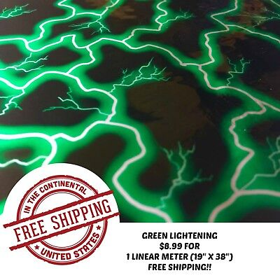 Hydrographic Water Transfer Hydro Dipping Dip Film Green Lightening 1m 19x38