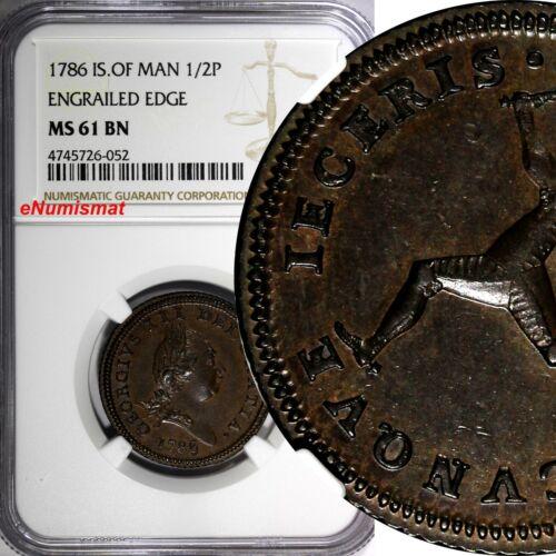 Isle Of Man George III Copper 1786 1/2 Penny Engrailed Edge NGC MS61 BN  KM# 8