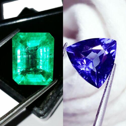 8 to 10 cts Loose Gems Certified Pair Natural  Emerald & Tanzanite Mixed O102