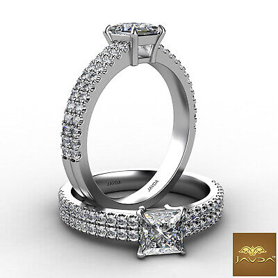 Double Prong Princess Cut Natural Diamond Engagement Wedding Ring GIA E SI1 1Ct