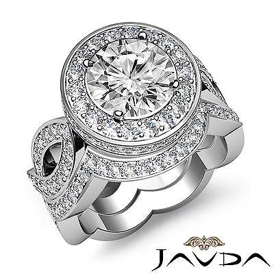 Cross Shank Circa Halo Round Diamond Engagement Pave Set Ring GIA I SI1 2.8 Ct 2
