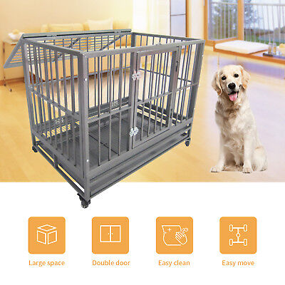 "43"" Large Heavy Duty Metal Dog Crate Pet Kennel Cage Playpen with Tray & Wheels"