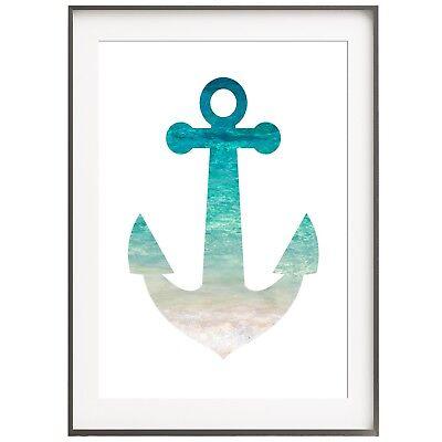Druck FINEART Bild Poster  *ANKER OCEAN*   Print  A4 &  A3 Kunstdruck dekorativ